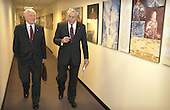 Former United States Senator John H. Glenn, Jr., left, talks with NASA Administrator Sean O'Keefe February 20, 2002 at NASA headquarters in Washington, DC. Glenn stopped by NASA to commemorate the 40th anniversary of his historic Project Mercury orbital flight.  On February 20, 1962, Glenn became the first American to orbit the Earth, hurtling around the globe three times in a flight that lasted nearly five hours..Mandatory Credit: Bill Ingalls / NASA via CNP