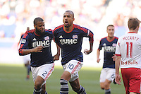 HARRISON, NJ - Sunday November 23, 2014: Teal Bunbury scores the first goal of the game for New England in the 17th minute.  The New York Red Bulls lose 2-1 to the New England Revolution at Red Bull Arena in the first leg of the Eastern Conference Finals of the MLS Cup Playoffs.