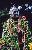 "Leis drape stature of Queen Liliuokalani, observance of 100th anniversary of overthrow of the Hawaiian monarchy/""Onipa'a;"" Iolani Palace, Honolulu, Hawaii.1-17-93"