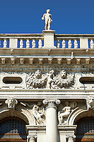 The Biblioteca Nazionale Marciana (National Library of St Mark's) is a library and Renaissance building built by Jacopo Sansovino between 1537 to 1553. St Mark's Square, Venice between  Veneto; Italy