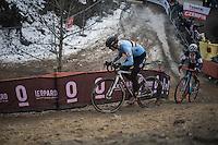Ellen Van Loy (BEL/Telenet-Fidea) &amp; Katie Kompton (USA) dueling it out<br /> <br /> Women's Race<br /> UCI 2017 Cyclocross World Championships<br /> <br /> january 2017, Bieles/Luxemburg