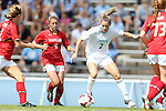 06 October 2013: North Carolina's Kealia Ohai (7) and Maryland's Lauren Berman (11). The University of North Carolina Tar Heels hosted the University of Maryland Terrapins at Fetzer Field in Chapel Hill, NC in a 2013 NCAA Division I Women's Soccer match. UNC won the game 3-1.