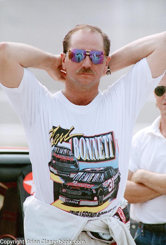 Dale Earnhardt wears a t-shirt in support of his friend, Neil Bonnett, at Talladega in July of 1993 (Photo by Brian Cleary/www.bcpix.com/www.bcpix.com)