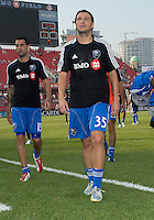 July 3, 2013: Montreal Impact forward Daniele Paponi #35 and Montreal Impact forward Andres Romero #15 leave the pitch after the warm-up during an MLS game between Toronto FC and Montreal Impact at BMO Field in Toronto, Ontario Canada.<br /> The game ended in a 3-3 draw.
