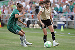 26 July 2009: Brandi Chastain (6) of FC Gold Pride tries to send the ball around Niki Cross (left) of Saint Louis Athletica.  Saint Louis Athletica tied the visiting FC Gold Pride 1-1 in a regular season Women's Professional Soccer game at Anheuser-Busch Soccer Park, in Fenton, MO.