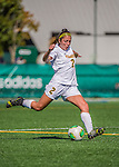 29 September 2013: University of Vermont Catamount Defender Meg James, a Freshman from Sharon, MA, in action against the Stony Brook University Seawolves at Virtue Field in Burlington, Vermont. The Lady Cats fell to the visiting Seawolves 2-1 in America East play. Mandatory Credit: Ed Wolfstein Photo *** RAW (NEF) Image File Available ***