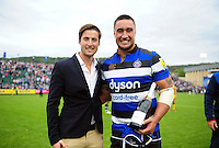 Man of the Match Leroy Houston of Bath Rugby poses for a photo with Louis Bruce and his Pol Roger bottle of champagne. Aviva Premiership match, between Bath Rugby and Worcester Warriors on September 17, 2016 at the Recreation Ground in Bath, England. Photo by: Patrick Khachfe / Onside Images