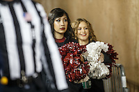 Stanford, CA - November 26, 2016: Cheerleaders wait to the enter the stadium for the second half of the Stanford vs Rice game Saturday at Stanford Stadium.<br /> <br /> Stanford won 41- 17.