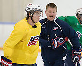 Jeremy Morin (USA - 26), Tom Ward (USA - Assistant Coach) - Team USA practiced at the Agriplace rink on Monday, December 28, 2009, in Saskatoon, Saskatchewan, during the 2010 World Juniors tournament.