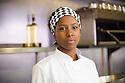 Edinburgh, UK. 07.08.2014.  Jade Anouka, star of Sabrina Mahfouz's Chef, in the kitchen of Edinburgh's top restaurant Timberyard. Photograph © Jane Hobson.