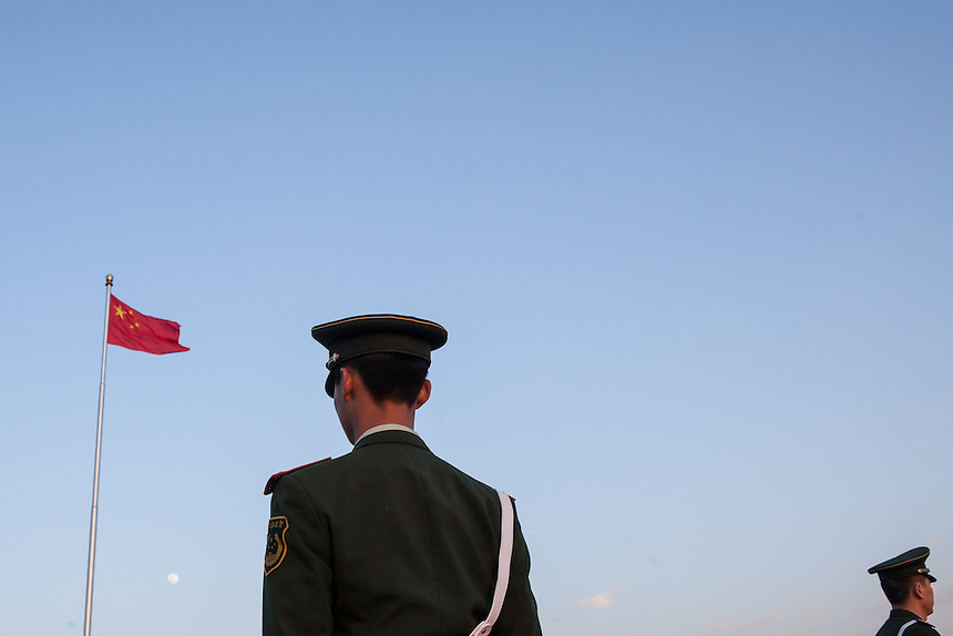 Chinese armies during flag lowering ceremony at the Tiananmen Square, Beijing.