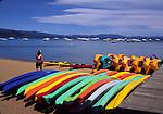 Kayaks at Camp Richardson at Lake Tahoe