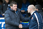 St Johnstone v Stenhousemuir&hellip;21.01.17  McDiarmid Park  Scottish Cup<br />Tommy Wright shakes hands with Brown Ferguson before kick off<br />Picture by Graeme Hart.<br />Copyright Perthshire Picture Agency<br />Tel: 01738 623350  Mobile: 07990 594431