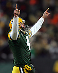 (2008) NFL Championship Game-Green Bay Packers' Brett Favre celebrates his touchdown pass to Donald Driver in the 2nd quarter. .The Green Bay Packers hosted the New York Giants in the NFC Championship game  Sunday January 20, 2008. Steve Apps-State Journal.