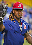 1 April 2016: Boston Red Sox infielder Hanley Ramirez warms up prior to a pre-season exhibition game against the Toronto Blue Jays at Olympic Stadium in Montreal, Quebec, Canada. The Red Sox defeated the Blue Jays 4-2 in the first of two MLB weekend exhibition games, which saw an attendance of 52,682 at the former home on the Montreal Expos. Mandatory Credit: Ed Wolfstein Photo *** RAW (NEF) Image File Available ***