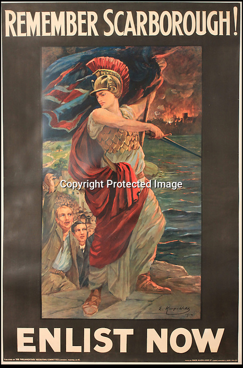 BNPS.co.uk (01202 558833)<br /> Pic: Onslows/BNPS<br /> <br /> ***Please use full byline***<br /> <br /> An early Poster featuring Britannia remembering the deadly December 1914 raid by the German navy on Scarborough.<br /> <br /> An amazing collection of recruitment posters from the Great War are coming up for auction - and they chillingly reveal the increasingly desperate methods used as casualties mounted on the Western front.<br /> <br /> The almost complete collection of nearly 200 posters were discovered in a loft in Kent and are now being sold by Onslows auctioneers of Dorset.