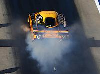 Jun 17, 2016; Bristol, TN, USA; NHRA funny car driver Del Worsham during qualifying for the Thunder Valley Nationals at Bristol Dragway. Mandatory Credit: Mark J. Rebilas-USA TODAY Sports