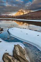 Sunset on Mt Dillon with reflection in the Koyukuk river, Arctic, Alaska