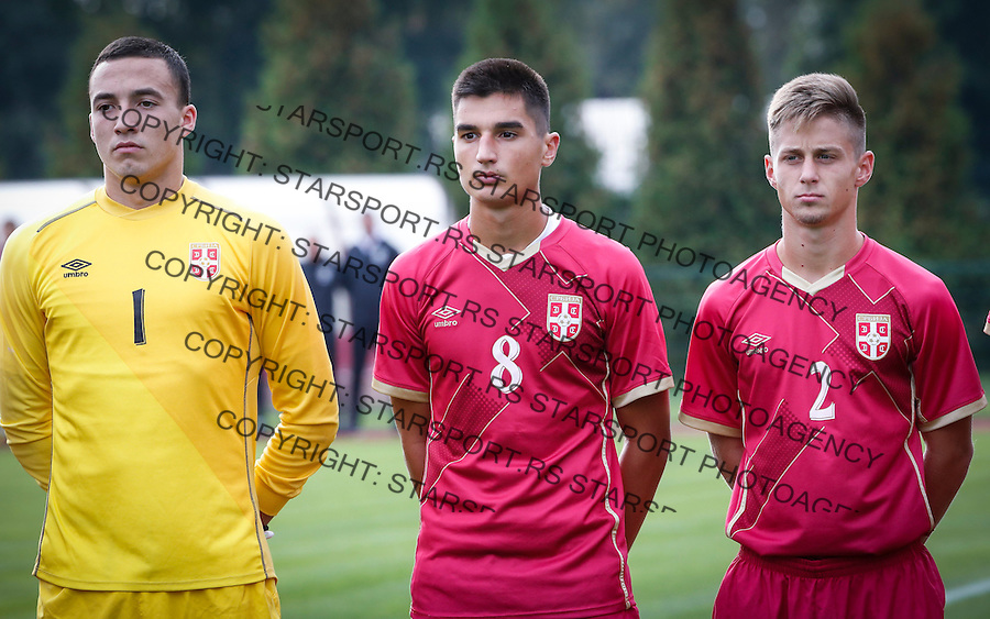 Fudbal Soccer<br /> International Friendly-Prijateljski mec<br /> Srbija U17 v Belorusiaj U17<br /> from left goalkeeper Aleksa Milojevic Zeljko Gavric and Nikola Simonovic<br /> Stara Pazova, 20.09.2016<br /> foto: Srdjan Stevanovic/Starsportphoto &copy;