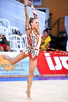 Marina Petrakova of Kazakhstan performs with hoop at 2010 Holon Grand Prix at Holon, Israel on September 3, 2010.  (Photo by Tom Theobald).