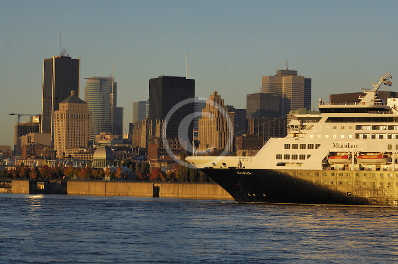 Canada, Montreal, Cruise ship in St Lawrence River and Montreal skyline