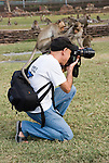 Two Monkeys sitting on Photographer's Head as he works