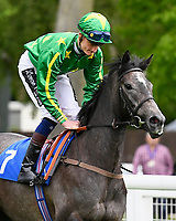 Daniel Muscott onboard White Chocolate goes down to the start of The British Stallion Studs EBF Fillies' Handicap, during Afternoon Racing at Salisbury Racecourse on 18th May 2017