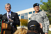 Fort Hood, TX - November 6, 2009 -- Army Secretary John McHugh, fields a question from a media member at a press conference on Sadowski Field outside the III Corps headquarters building at Fort Hood, Friday, November 6, 2009, while Army Chief of Staff General George Casey looks on. The secretary pledged the Army's unwavering support for the Soldiers and families hit by a Nov. 5 attack by a lone gunman that left 13 dead and 30 wounded. .Mandatory Credit: Eric Martinez - U.S. Army via CNP