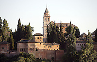 Tower of the Ladies (Partal), Mirador built by Muhammad III, 1302 ? 1309, with the church Santa Maria de la Alhambra in the distance, The Alhambra, Granada, Andalusia, Spain. Picture by Manuel Cohen