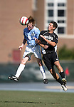 11 September 2005: Dax McCarty (8) beats Rob Charest (r) to a header. The University of North Carolina Tarheels defeated the University of South Carolina Gamecocks 2-0 in an NCAA Divison I men's soccer game at Fetzer Field in Chapel Hill, NC.
