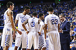 Coach Calipari talks to the team after their scuffle with Mississippi State during the game against the Mississippi State Bulldogs at Rupp Arena on January 20, 2015 in Lexington, Kentucky. Photo by Taylor Pence