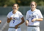 Duke's Darby Kroyer (7) and Kelly Hathorn (r) on Sunday, October 1st, 2006 at Koskinen Stadium in Durham, North Carolina. The Duke Blue Devils defeated the North Carolina State University Wolfpack 3-0 in an Atlantic Coast Conference NCAA Division I Women's Soccer game.