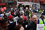 Fast food workers march while they take part in a  protest for Increased their wages in New York, April 04, 2013. Photo by Eduardo Munoz Alvarez / VIEWpress.