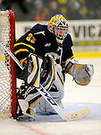 30 December 2007: Quinnipiac University Bobcats' goaltender Bud Fisher, a Junior from Peterborough, Ontario, in action against the University of Vermont Catamounts at Gutterson Fieldhouse in Burlington, Vermont. The Bobcats defeated the Catamounts 4-1 to win the Tournament. Fisher finished with 19 saves and turned away 37 of 39 shots on the weekend to earn the MVP of the Sheraton/TD Banknorth Catamount Cup...Mandatory Photo Credit: Ed Wolfstein Photo