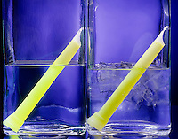 CYALUME LIGHT STICK GLOW AFFECTED BY TEMPERATURE<br /> Luminescence Caused By Chemical Reaction<br /> Rate of Chemiluminescent reaction is faster &amp; causes stick in hot water to glow more brightly than stick in cold water.