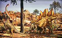 Illustrated information panel depicting dinosaurs of the Jurassic Period (Morrison Formation), 150 million years ago, at the Garden of the Gods Visitor and Nature Center, at the Garden of The Gods, an area of geological rock formations protected as a public park, near Colorado Springs, Colorado, USA. These Colorado dinosaurs are a camptosaurs, diplodocus and stegosaurus. The Garden of the Gods was listed as a National Natural Landmark in 1971. Picture by Manuel Cohen