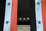 Druze Sheikhs during a rally supporting Syrian president Assad, in Majdal Shams, Golan Heights.