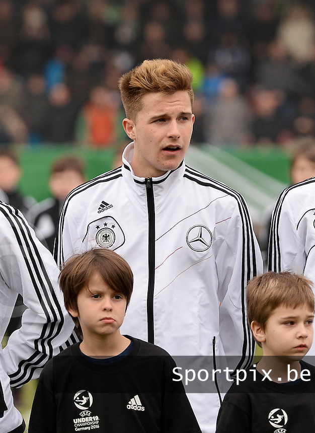20150321 - Wetzlar , GERMANY  : German Johannes Eggestein pictured during the soccer match between Under 17 teams of Germany and Slovakia , on the first matchday in group 8 of the UEFA Elite Round Under 17 at Stadion Wetzlar , Wetzlar Germany . saturday 21 th March 2015 . PHOTO DAVID CATRY