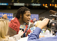 Courtney Upshaw of Alabama talks with the reporters during BCS Media Day at Mercedes-Benz Superdome in New Orleans, Louisiana on January 6th, 2012.