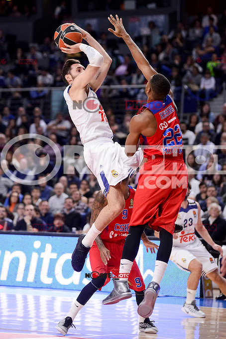 Real Madrid's Rudy Fernandez and CSKA Moscow Cory Higgins during Turkish Airlines Euroleague match between Real Madrid and CSKA Moscow at Wizink Center in Madrid, Spain. January 06, 2017. (ALTERPHOTOS/BorjaB.Hojas)