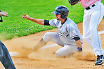 18 July 2010: Staten Island Yankees outfielder Shane Brown slides safely into third during a game against the Vermont Lake Monsters at Centennial Field in Burlington, Vermont. The Lake Monsters fell to the Yankees 9-5 in NY Penn League action. Mandatory Credit: Ed Wolfstein Photo