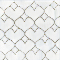Hearts, a waterjet glass mosaic shown in Moonstone, is part of the Erin Adams Collection for New Ravenna Mosaics.