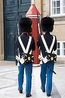 Royal Guard, Den Kongelige Livgarde, in uniform at Royal Amalienborg Palace, Copenhagen, Denmark