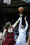 01 February 2015: North Carolina's Stephanie Mavunga (1) shoots over Boston College's Katie Quandt (42). The University of North Carolina Tar Heels hosted the Boston College Eagles at Carmichael Arena in Chapel Hill, North Carolina in a 2014-15 NCAA Division I Women's Basketball game. UNC won the game 72-60.