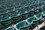 Rows of empty seats cluttered with garbage after a baseball game at Wrigley Field, Chicago, Illinois