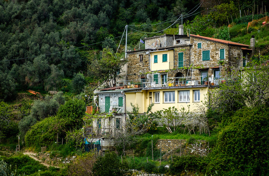 VERNAZZA, ITALY - CIRCA MAY 2015:  House in the hills of Vernazza in  Cinque Terre, Italy.