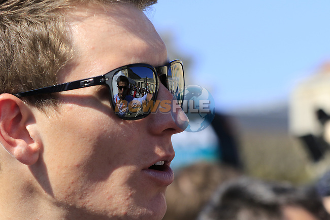 Arnaud Demare (FRA) FDJ at the Team Presentation for the upcoming 115th edition of the Paris-Roubaix 2017 race held in Compiegne, France. 8th April 2017.<br /> Picture: Eoin Clarke | Cyclefile<br /> <br /> <br /> All photos usage must carry mandatory copyright credit (&copy; Cyclefile | Eoin Clarke)