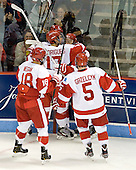 Wade Megan (BU - 18), Evan Rodrigues (BU - 17), Ryan Ruikka (BU - 2), Cason Hohmann (BU - 7), Matt Grzelcyk (BU - 5) - The Boston University Terriers defeated the visiting Providence College Friars 4-2 (EN) on Saturday, December 13, 2012, at Agganis Arena in Boston, Massachusetts.