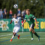 24 September 2016: University of Vermont Catamount Forward Bernard Yeboah, a Senior from Brescia, Italy, battles Dartmouth College Big Green Defender/Midfielder Tyler Dowse, a Junior from Senoia, GA, at Virtue Field in Burlington, Vermont. The teams played to an overtime 1-1 tie in front of an Alumni Weekend crowd of 1,710 fans. Mandatory Credit: Ed Wolfstein Photo *** RAW (NEF) Image File Available ***