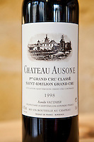 Chateau Ausone fine wine 1998 vintage in Vignobles et Chateaux wine merchant shop in St Emilion in Bordeaux wine region of France